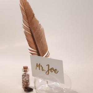 Gravírozható szív vendég ajándék, ültetődísz név kártyával, köszönő ajándék, váza - asztali dekoráció 3 az 1-ben. , Esküvő, Emlék & Ajándék, Köszönőajándék, Gravírozás, pirográfia, Meska