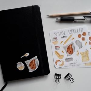 Bullet Journal Matrica - Kovász Szerelem, Kovász, Kenyér, Művészet, Grafika & Illusztráció, Fotó, grafika, rajz, illusztráció, Ezek a kedves kis matricák magukban hordozzák a kovász és a belőle készült kenyér szeretetét. Személ..., Meska