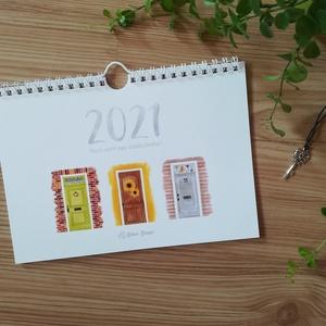 Nyiss ajtót egy szebb jövőre! - A5 naptár, akvarell technikával készült illusztrációkkal, spirálozott, akasztóval, Otthon & Lakás, Papír írószer, Naptár & Tervező, Fotó, grafika, rajz, illusztráció, Egy bejárati ajtó nem csupán deszka és üveg pár zárral meg egy mutatós kilinccsel. Árulkodik a ház t..., Meska