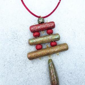 Három hengeres csillogó nyaklánc, Medálos nyaklánc, Nyaklánc, Ékszer, Ékszerkészítés, Gyurma, Az ünnepi időszakra terveztem ezt a színesen csillogó hosszú nyakláncot, csillámporral (melyet telje..., Meska