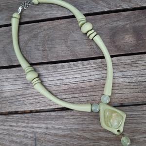 Vízzöld nyaklánc jáde kővel, Ékszer, Nyaklánc, Statement nyaklánc, Ékszerkészítés, Meska