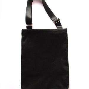 Fekete vászon táska fehér keresztszemes csillagokkal (bimbadesign) - Meska.hu