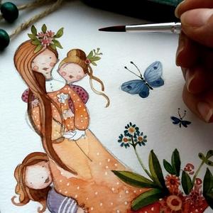 Mesés akvarell Családrajzok, kézzel festett, Baba-mama-gyerek, Képzőművészet, Gyerekszoba, Illusztráció, Fotó, grafika, rajz, illusztráció, CSALÁDRAJZAIM az általad elküldött fotók alapján készítem azokról akiket legjobban szeretsz. Nem sé..., Meska