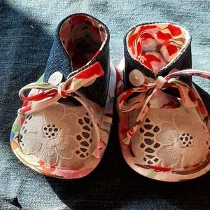 Baby cipő Adèl, Gyerek & játék, Baba-mama kellék, Varrás, Újrahasznosított alapanyagból készült termékek, Talp 12cm\n, Meska