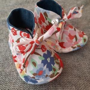 Baby cipő Virág, Gyerek & játék, Baba-mama kellék, Varrás, Újrahasznosított alapanyagból készült termékek, Talp 12cm, Meska