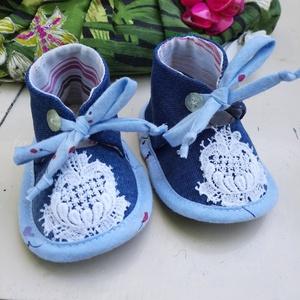 Baby cipő Bori, Gyerek & játék, Baba-mama kellék, Varrás, Újrahasznosított alapanyagból készült termékek, Talp 12cm, Meska