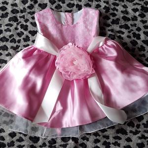 Rózsaszín csipke ruhácska Barbara, Gyerek & játék, Baba-mama kellék, Varrás, egyedi.alkalmi.keresztelő születésnapi ajándék ruhácska\nAnyaga menyasszonyi ruha szalonomból maradt..., Meska