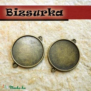 2db Antik bronz kétoldalas továbbfűzhető medálalap, (25mm), Gyöngy, ékszerkellék, Fém köztesek, Ékszerkészítés, Antik bronz kétoldalas, továbbfűzhető medálalap.\nA medál mindkét oldalát díszítheted. 25mm epoximatr..., Meska