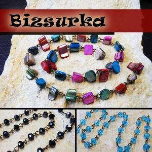 Gyöngyös lánc (40cm) / 3-féle, Gyöngy, ékszerkellék, Egyéb alkatrész, Ékszerkészítés, Szerelékek, Választható: 1. Antik bronz lánc tengeri kagyló gyöngyökkel. gyöngyök mérete:  6~9 x 6~13 mm  2. An..., Alkotók boltja