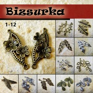 2 db Antik bronz levél-virág medál / 12 féle, Gyöngy, ékszerkellék, Egyéb alkatrész, Ékszerkészítés, Választható:\n1 - Antik bronz virágos összekötő medál (37x15 mm)\n2 - Antik bronz toll charm (46x11 mm..., Meska