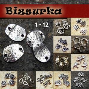 4db ezüst köztes / 12 típus, Gyöngy, ékszerkellék, Fém köztesek, Ékszerkészítés, Fém köztesek, Választható:\n1. Foltos köztes (20x15mm)\n2. Kacskaringós kör (19x12mm)\n3. Masni (22x13mm)\n4. Végtelen..., Meska