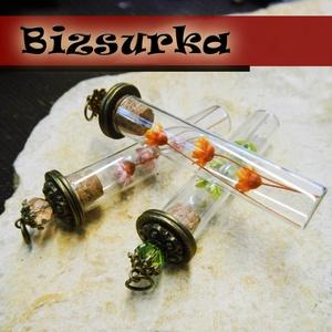 1db Nagy üvegpalack medál készítő csomag, Gyöngy, ékszerkellék, Fém köztesek, Nagy üvegpalack száraz virággal és gyöngyös kupakkal.   Választható színek: - zöld - narancs - rózsa..., Meska