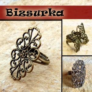 Csipkés gyűrű / 3 típus, Gyöngy, ékszerkellék, Ékszerkészítés, Választható: 1. Antik bronz ovális csipkemintás Ovális csipke veret : 20 x 31.5mm  2. Antik bronz g..., Alkotók boltja