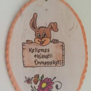 Húsvéti dísz  , Otthon & lakás, Lakberendezés, Ajtódísz, kopogtató, Gravírozás, pirográfia, Húsvéti dísz  \nHúsvéti dísz  , fából készített tojás, nyuszis mintával. 1090 Ft. Pirográf technikáva..., Meska