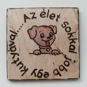 Hűtőmágnes  kutya, Hűtőmágnes, Konyhafelszerelés, Otthon & Lakás, Gravírozás, pirográfia, Hűtőmágnes pirográf technikával díszítve . Mérete: 7x7 cm. Pirográf, (égetett)  technikával készítet..., Meska