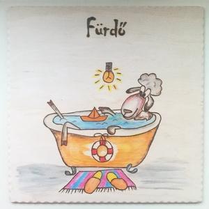 """Ajtójelölő tábla """" Fürdő \"""", Táblakép, Dekoráció, Otthon & Lakás, Gravírozás, pirográfia,  Ajtójelölő tábla """" Fürdő"""" .  Kérhető öntapadós vagy zsinóros megoldással. Mérete: 10x10,x0,3 cm. Má..., Meska"""