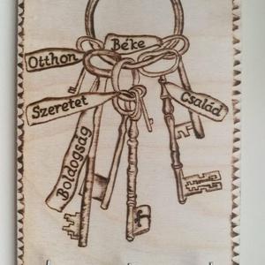 Fali kulcstartó, Otthon & Lakás, Dekoráció, Felirat, Gravírozás, pirográfia, Famegmunkálás, Meska