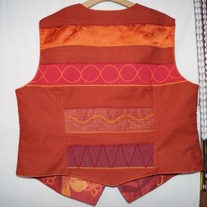 Narancs-bordó színű, gyöngyös, applikált mellény  (bkrisztina) - Meska.hu