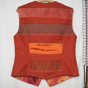 Narancs-barna színű, gyöngyös, applikált mellény 2. (bkrisztina) - Meska.hu