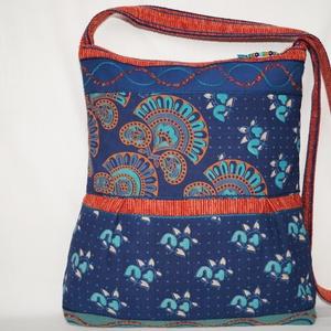 AJÁNDÉKKAL! Kék-türkiz-narancs, vágyódás, 2 oldalt különböző mintával díszített, nagy méretű válltáska (bkrisztina) - Meska.hu