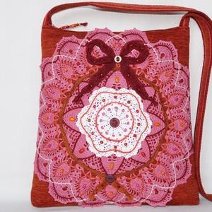 f303f7940f Rózsaszín-fehér, virág csipkés, bordó masnis, vintage válltáska (bkrisztina  ...