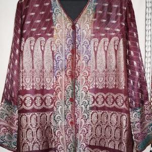 Bordó-ezüst, indiai szári mintás kabátka, M-L-es méret, Táska, Divat & Szépség, Női ruha, Ruha, divat, Kabát, Kosztüm, Varrás, Bordó-ezüst, indiai szári mintás, vintage brokát selyemből készült, egyenes vonalú, közép hosszú kab..., Meska