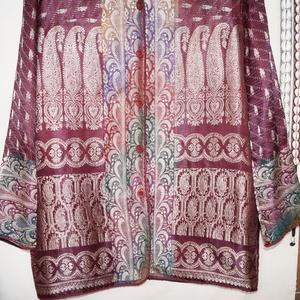 Bordó-ezüst, indiai szári mintás kabátka, M-L-es méret (bkrisztina) - Meska.hu