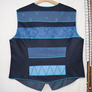 Női, kék-türkiz színű mellény - ruha & divat - női ruha - mellény - Meska.hu