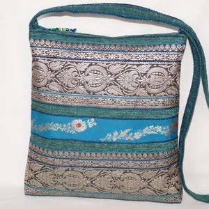 AJÁNDÉKKAL!  Türkizzöld-kék-ezüst, indiai virág mintás, türkizkék csíkos, közepes méretű válltáska (bkrisztina) - Meska.hu