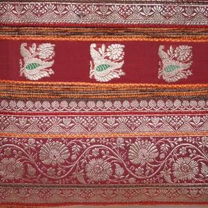 Rozsdabarna-bordó-ezüst, indiai esküvő, bordó csíkos, közepes méretű válltáska (bkrisztina) - Meska.hu