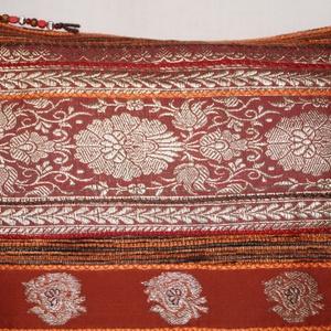 AJÁNDÉKKAL!  Rozsdabarna-bordó-ezüst, indiai esküvő, rozsdabarna csíkos, közepes méretű válltáska (bkrisztina) - Meska.hu