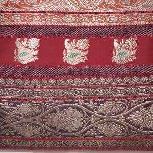 Bordó-ezüst-barack, 2. indiai esküvő, bordó csíkos, közepes méretű válltáska (bkrisztina) - Meska.hu