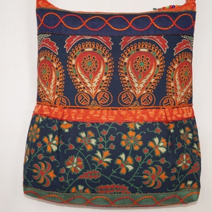 Kék-zöld-narancs, vágyódás, 2 oldalt különböző mintával díszített, nagy méretű válltáska (bkrisztina) - Meska.hu