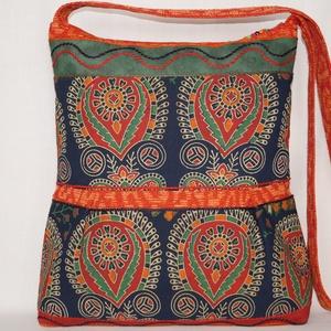 9b78136556 ... Kék-zöld-narancs, virágzás, 2 oldalt különböző mintával díszített, nagy  méretű