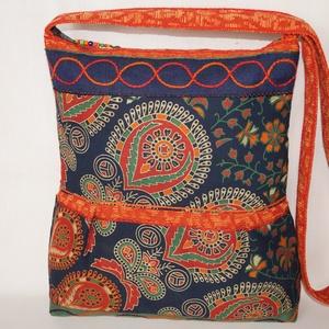 Kék-zöld-narancs, indiai utazás, 2 oldalt különböző mintával díszített, nagy méretű válltáska (bkrisztina) - Meska.hu