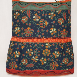 Kék-zöld-narancs, virágzás, 2 oldalt különböző mintával díszített, nagy méretű válltáska (bkrisztina) - Meska.hu