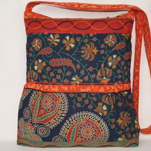 Kék-zöld-narancs, India virágai, 2 oldalt különböző mintával díszített, nagy méretű válltáska (bkrisztina) - Meska.hu