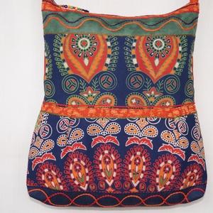 Kék-zöld-narancs, ragyogás, 2 oldalt különböző mintával díszített, nagy méretű válltáska (bkrisztina) - Meska.hu
