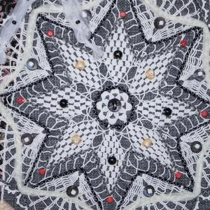 Fehér, csillag virág csipkés, fehér masnis, vintage válltáska  (bkrisztina) - Meska.hu