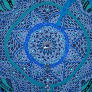 Kék-türkiz, virág csipkés, türkizkék masnis, 2. vintage válltáska  (bkrisztina) - Meska.hu