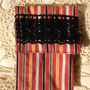 csupa csík és csipke zsebkendőtartó, tároló tasak (Blackata) - Meska.hu