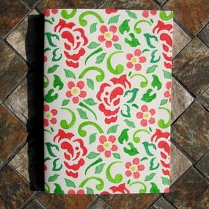 Rózsakert – üdvözlőlap, Otthon & lakás, Naptár, képeslap, album, Képeslap, levélpapír, Ajándékkísérő, Papírművészet, Nyitható, belső oldalai üresek. Művészpapírra, jó minőségű filctollakkal rajzoltam meg. Utána fixatí..., Meska
