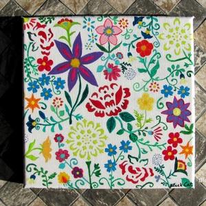 Virágoskert - festmény, Otthon & lakás, Képzőművészet, Festmény, Akril, Festészet, Virágoskert – Festmény\n\nAkril festmény 20X20 cm-es feszített vásznon.\nVidám, rendkívül színes, virág..., Meska