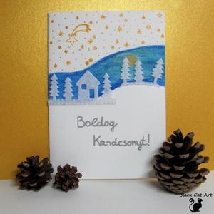 Karácsonyi üdvözlőlap – Havas táj - Egyedi üdvözlőlap - üdvözlőkártya karácsonyra - akvarell, Otthon & lakás, Dekoráció, Ünnepi dekoráció, Karácsony, Festészet, Papírművészet, Nyitható, belső oldalai üresek. Jó minőségű művészpapírra akvarell festékkel festettem. Filc anyagbó..., Meska