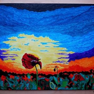 A fantáziám naplementéje, Otthon & lakás, Dekoráció, Kép, Képzőművészet, Festmény, Akril, Festészet, A fantáziám szüleménye, egy álomkép. Akril festékkel festettem 30X40 cm-es kasírozott vászonra...., Meska
