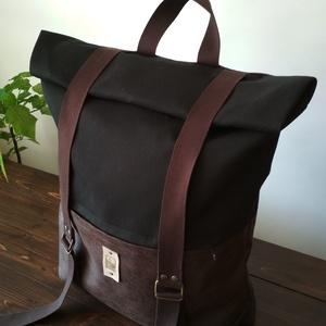 ATLAS hátizsák fekete/barna, Táska, Divat & Szépség, Táska, Hátizsák, Varrás, Erős vászonanyagból készült hátizsák, mérete 54x32x12 cm, visszacsavart (zárt) állapotában 36x32x12 ..., Meska