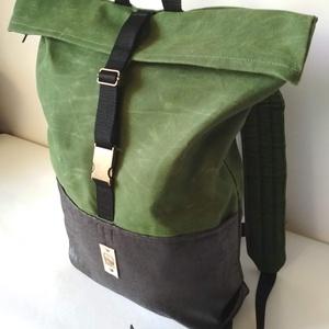 COOK hátizsák fűzöld, Hátizsák, Hátizsák, Táska & Tok, Bőrművesség, Varrás, Strapabíró viaszolt vászonból készült, ami, azon kívül, hogy erősebbé és ellenállóbbá teszi a táskád..., Meska