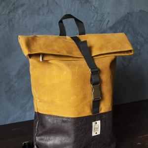 COOK hátizsák okkersárga, Táska, Táska, Divat & Szépség, Hátizsák, Bőrművesség, Varrás, Strapabíró viaszolt vászonból készült, ami, azon kívül, hogy erősebbé és ellenállóbbá teszi a táskád..., Meska