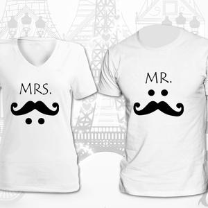 Mr. és Mrs. pólók, Esküvő, Nászajándék, Táska, Divat & Szépség, Fotó, grafika, rajz, illusztráció, Ha ismersz a környezetedből szerelmes párokat, kiváló és vicces meglepetés lehet számukra. Legyen ép..., Meska