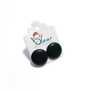 Fekete Bedugós textilbőr gombfülbevaló, Ékszer, Fülbevaló, Pötty fülbevaló, A termék megnevezése: Gomb fülbevaló.    Színei:   Mérete: a gomb átmérője 1,6 cm  Nikkelmentes fülb..., Meska